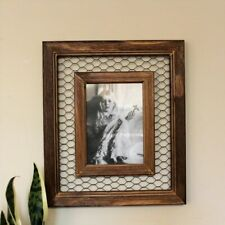 5d6efb4345b3 Iron Mesh Rustic Brown Wooden Photo Frame 5 x 7 In Picture Home Decor  Ornament