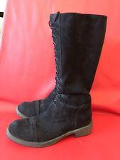 Women's Canvas Lace Up Black Boots UK 5