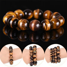 Natural Tiger Eye Stone Lucky Bless Beads Men Woman Jewelry Bracelet Bangle WL