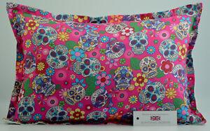 "Handmade Sugar Skulls Cerise Oxford Style Cushion Inc Pad 14""x20"" (36cm x 51cm)"