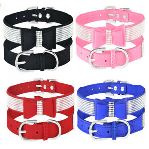 Bling Rhinestone Small Pet Dog Collar Suede Bowknot Puppy Cat Collar Necklace
