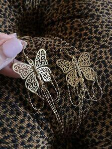 """Big Delicate Gold Butterfly Earrings Light Lacy Filigree 4"""" Dangle"""