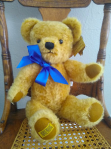 """Merrythought 18"""" London Curly Gold Mohair Teddy Bear British Made in England"""