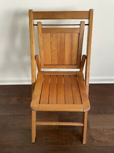 Solid Wood Vintage Mid Century Slat Seat Back Folding Chair