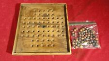 New listing Rare Civil War Era Camp Made Wooden Solitarie Game Board With Clay Marbles
