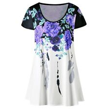Women's Plus Size Floral Feather Print Hip Length Short Sleeves T-Shirt Top