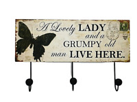 Coat Robe Hooks Rack Plaque A Lovely Lady & A Grumpy Old Man Black Cream SG1254