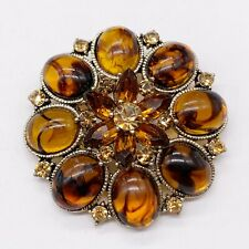 VINTAGE AMBER SMOKY QUARTZ ROUND FLOWER CHUNKY LADIES BROOCH
