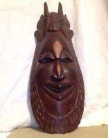 Vintage African Mask. Large. All Wood. Hand Carved.