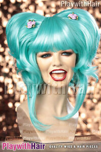 COOL! Amazing Beehive Party Costume Cosplay Wig Blue