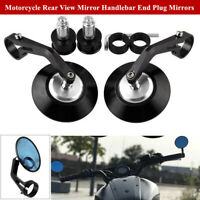 1Pair CNC Aluminum Round Motorcycle Rear View Mirror Handlebar End Plug Mirrors