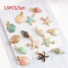 13 Pcs/Set Mixed Starfish Shell Metal Charms Pendant DIY Jewelry Making Decor