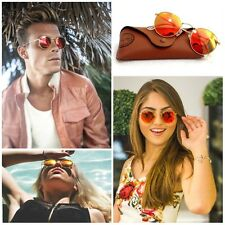 Ray Ban RB3517 Round Folding Metal Gold frame Red flash Mirrored lens