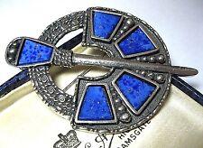 VINTAGE gioielli non firmate miracolo Scozzese Celtico Lapislazzuli GRANDE pin spilla