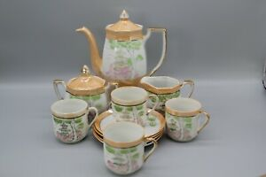 Vintage 11 piece Japanese Klimax coffee/tea set with temple and trees pattern