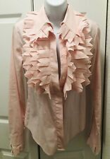WOW Viktor & Rolf Pink Cut Ruffle Button Up Blouse Top US S