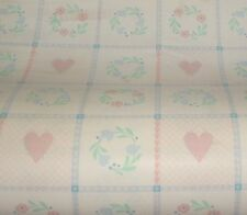 Vtg By YD Gift Wrapping Paper Country Quilt Block Flowers Hearts All Occasion