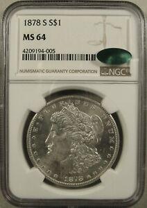 1878-S San Francisco Morgan Silver Dollar NGC MS64 CAC Brilliant Uncirculated