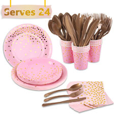 168X Disposable Pink Tableware Sets Birthday Party Wedding Decoration Supplies