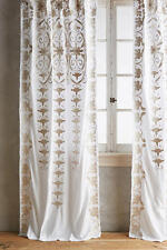 2 New Anthropologie Antonella Curtain Panels  White Taupe Embroidered 42 x 108