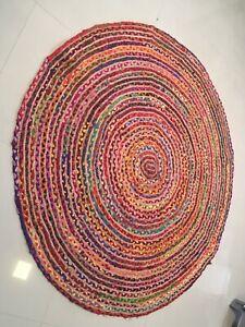 Indian Hand Braided Round Rug Jute Cotton Rug Natural Carpet Handmade 4x4 Feet