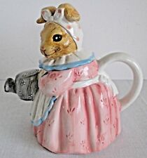 Heritage Mint Collection Mamma Bunny Teapot Pink Dress Blue & White Apron