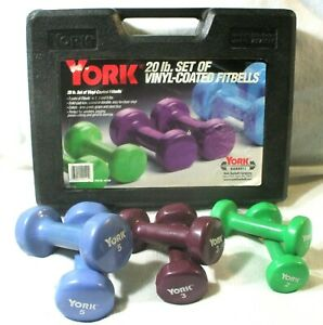 York 20 Pound Set of Vinyl Coated Fitbells in Plastic Carrying Case Barbells