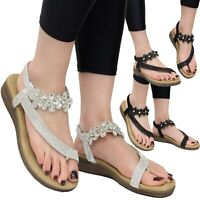 Ladies Summer Ankle Strap Sandals Womens Diamante Wedge Flat Peep toe Shoes Size