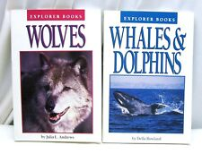 2 BOOKS WHALES and DOLPHINS AND WOLVES by Della Rowland 1991 Paperbacks Children