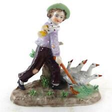 Sitzendorf Figura De Niño Con Gansos De Porcelana Pintada A Mano