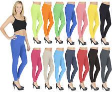 Womens Thick Leggings Full Length Cotton Plus Size V1 Black Grey White Blue Red
