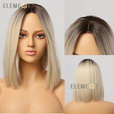 Natural Dark Roots Ombre Light Blonde Synthetic Hair Wigs SEE VIDEO more styles