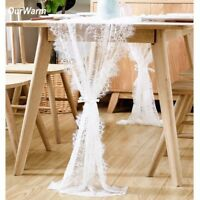 Wedding White Lace Table Runner Boho Tablecloth Cover Chair Sash Party Decors UK