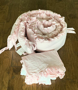 Pottery Barn Pink Ruffle Bumper Pad and Dust Ruffle Baby Bed Bedding