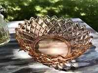 Art Déco rund Rosalin Rosa Pressglas Schale Glasschale Schön!