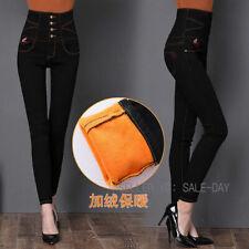 Womens Fleece Lined Denim Jeans High Waist Slim Fit Pencil Pants Winter Trousers