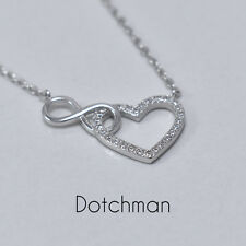 925 Sterling Silver Infinity Heart Necklace. A Wonderful Gift