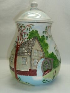 Vtg Cookie Ginger Jar Gristmill Water Wheel Canister Farm House Serenity!