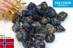25pc Norse Sodalite Gemstone Power Viking Rune Stones Set + Runestones Chart