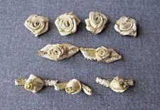 9 VINTAGE ASSORTED GOLDEN RIBBONWORK FLOWERS APPLIQUES FOR REPURPOSE