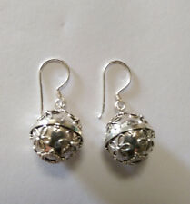 Sterling Silver Decorative Harmony Ball Earrings