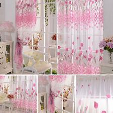 Voile fenêtre rideaux chambre rose motif tulipe panneau voilage rideaux