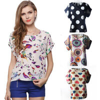 Floral Crew Neck Womens Blouse Short Sleeve Chiffon Summer T-Shirt Tops Casual
