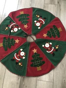 """38"""" SANTA CLAUS THEMED FELT CHRISTMAS HOLIDAY TREE SKIRT SANTA & TREE"""