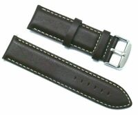 22mm Dark Brown Leather White Stitching Replacement Watch Strap - Citizen 22