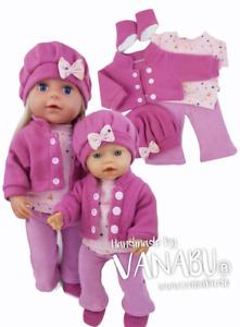 VANABU® Puppenkleidung 5-teiliges Set für 36 cm - 38 cm Baby Puppen NEU
