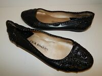 Jack Rogers sz 8 Black Leather Patent Whipstitch Ballet Flats