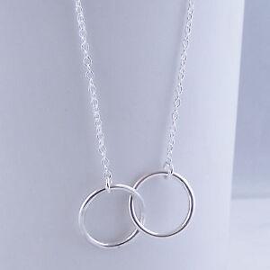 Handmade Solid Sterling Silver Interlocking Circles Pendant Karma Friendship