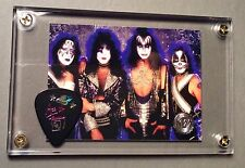 KISS Ace Frehley black Farewell tour guitar pick / Reunion group card display!