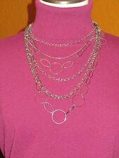 necklace multi strand silver disco Lane Bryant Nwt $30 women's